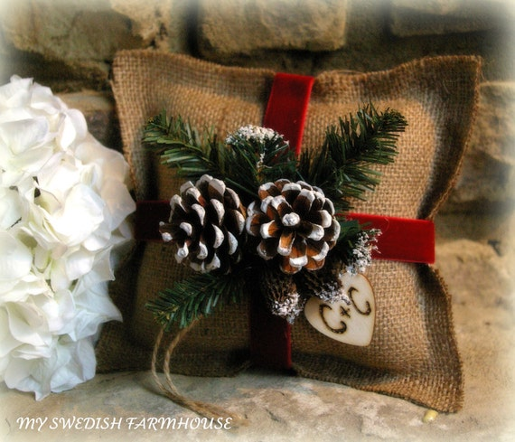 Christmas Weddings Decorations: Burlap Ring Bearer Pillow Rustic Christmas By