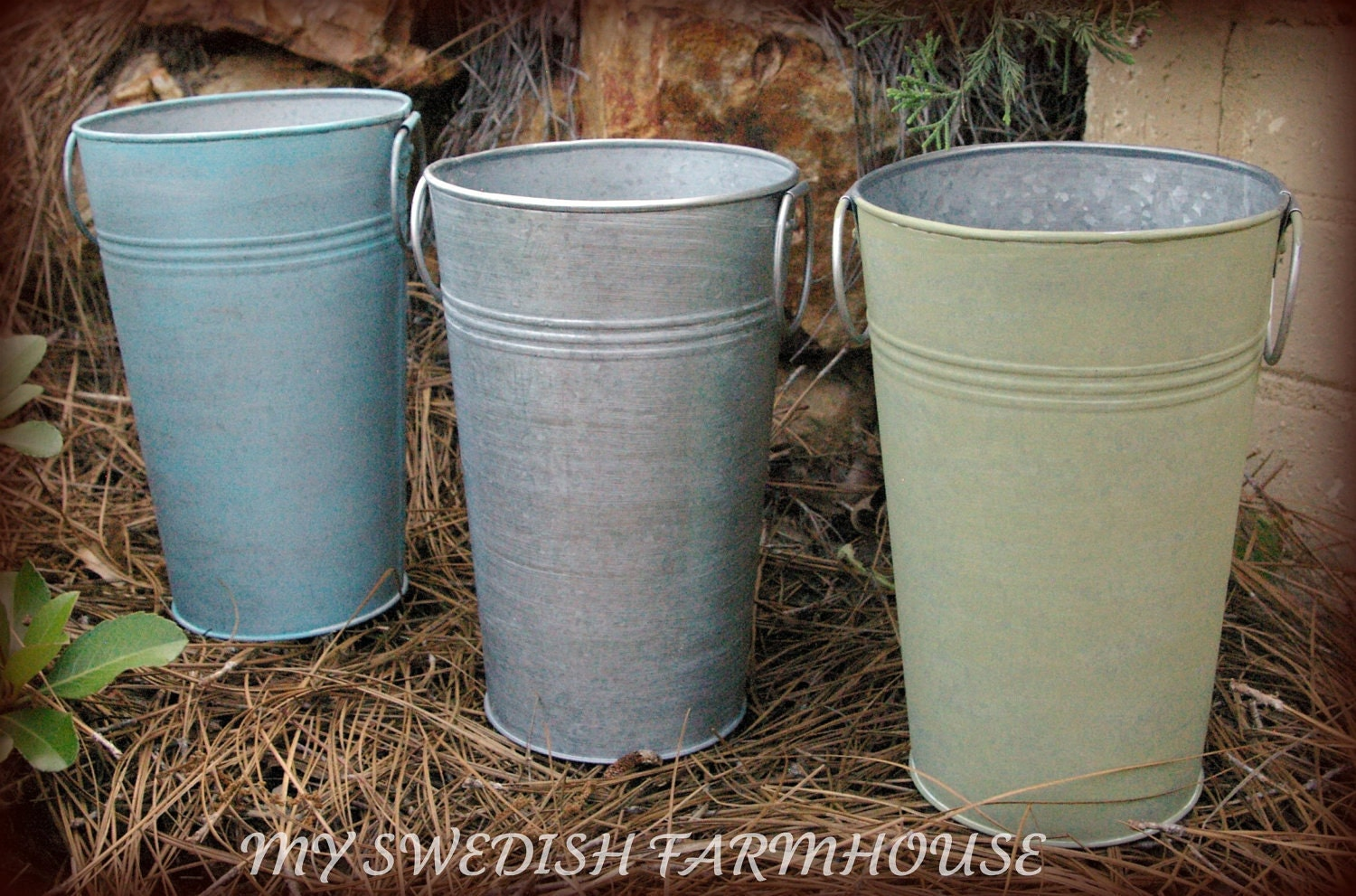 3 french tall galvanized vase pail bucket by for Large galvanized buckets for flowers