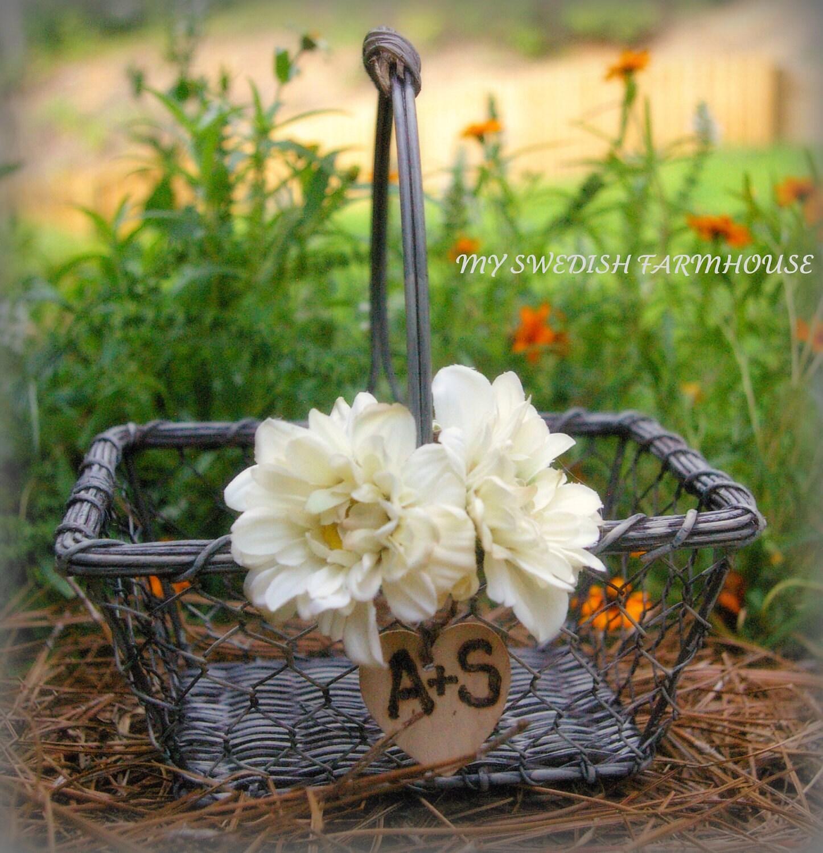 Flower Girl Baskets For Weddings: Flower Girl Basket Rustic Wedding Decor By MinSvenskaLandgard