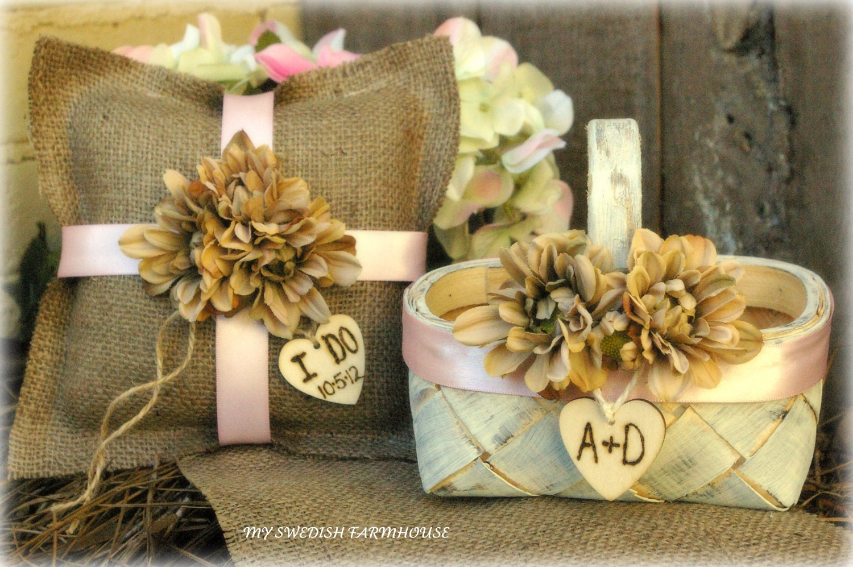 Flower Girl Basket And Ring Bearer Pillow By