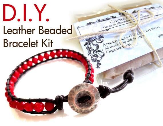 leather beaded bracelet kit single wrap coffee color leather