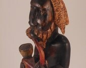 Wood Carving Tribal Man Smoking Pipe
