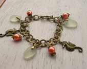 White Seaglass, Coral Beads & Seahorse Charm Bracelet