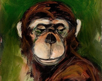 Jane's Chimpanzee. Greeting card , a reproduction a original painting by Mona Cordell.