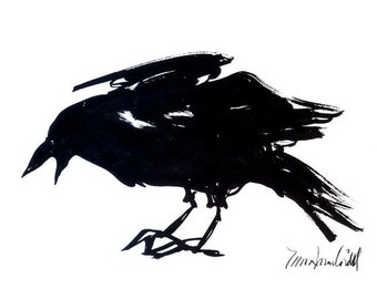 Sumi Ink Raven l, greeting card reproduction from the original painting by Mona Cordell