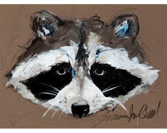 Raccoon, 5x7 greeting card reproduction of original painting by Mona Cordell
