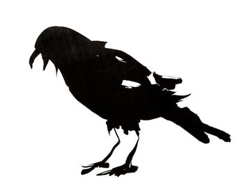 Sumi raven II , greeting care, reproduction from original painting by Mona Cordell.