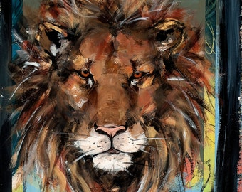 Lion, This image is reproduced from the original painting by Mona Cordell