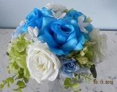 9 piece wedding bridal flower package green white turquoise roses stephanotis hydrangeas eucalyptus any season keepsakes