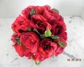 silk  wedding flowers bridal bouquet of red roses