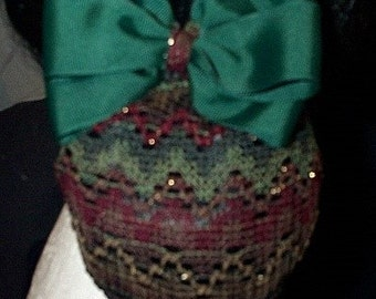 Forest Green Grosgrain Hair Bow with Multicolored Net Snood