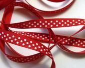"4.5 yds 3/8"" Grosgrain Ribbon Swiss Dots - Red (2)"