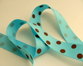 "7/8"" Dotted Grosgrain Ribbon - Turquoise with Brown Dots"