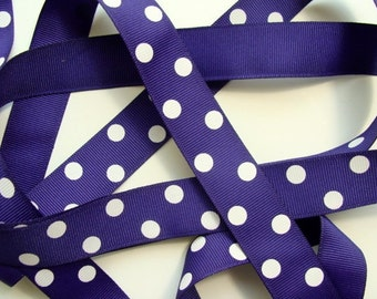 "7/8"" Dotted Grosgrain Ribbon - Purple with White Dots"