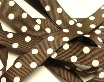 "7/8"" Dotted Grosgrain Ribbon - Chocolate Brown with White Dots 10 yard length"