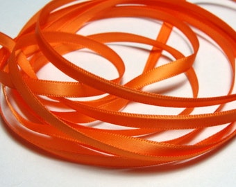 "1/4"" Double-Faced Satin Ribbon - Orange - 10 Yards"