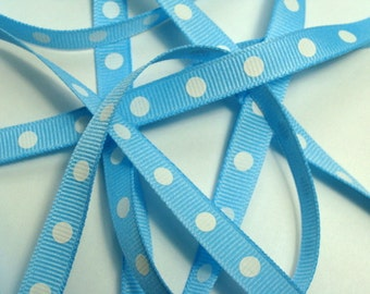 "3/8"" Dotted Grosgrain Ribbon - Baby Blue with White Dots - 5 yds"