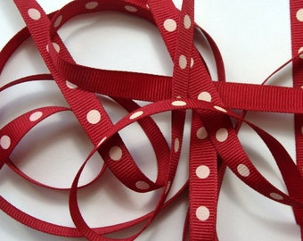 """3/8"""" Grosgrain Ribbon - Cranberry with Ivory Dots - 5 yards"""