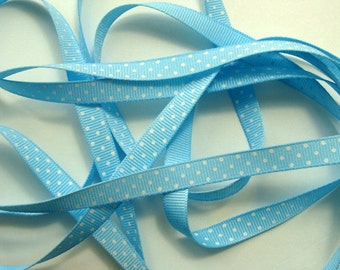 """3/8"""" Grosgrain Ribbon Swiss Dots - Light Blue with White Dots - 5 yards"""