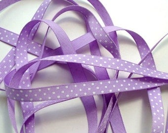 """3/8"""" Grosgrain Ribbon Swiss Dots - Lavender with White Dots - 5 yards"""