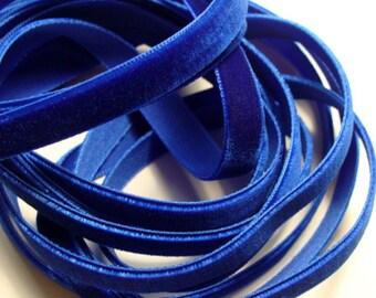 """3/8"""" wide Velvet Ribbon - Royal Blue - 5 yards"""