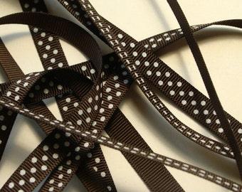 "3/8"" Grosgrain Ribbon Swiss Dots - Brown - 5 yds"