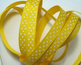 "3/8"" Grosgrain Ribbon Swiss Dots - Daffodil - 5 Yards"
