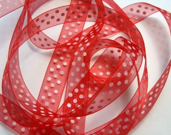 """5/8"""" Dotted Organza Ribbon - Red with White Dots - 5 yards"""