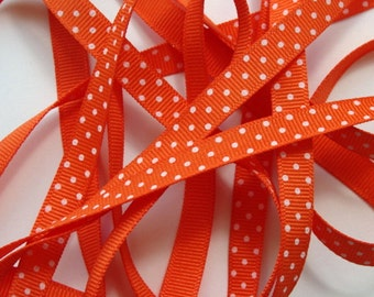 "3/8"" Grosgrain Ribbon Swiss Dots - Orange with White Dots 5 yards"