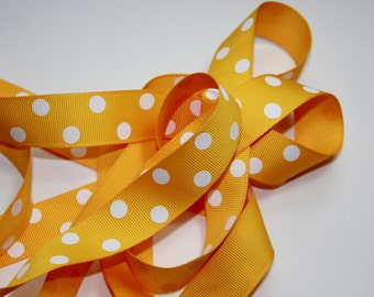 "7/8"" Dotted Grosgrain Ribbon - Light Gold with White Dots"