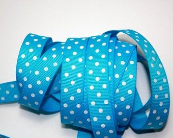 """5/8"""" Grosgrain Dotted Ribbon - Turquoise with White Dots - 5 yards"""