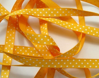 "3/8"" Grosgrain Ribbon Swiss Dots - Yellow with white dots - 5 yards"