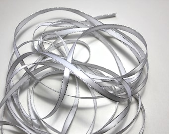 "1/4"" White Satin Ribbon with a Silver Lurex Edge - 5 yards"