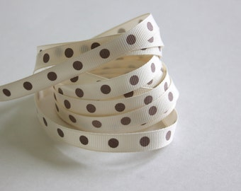 """3/8"""" Dotted Grosgrain Ribbon - Ivory with Toffee Dots - 5 yards"""