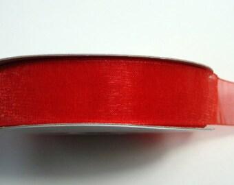"3/8"" Organza Ribbon - Red - 25 or 50 yard spool"