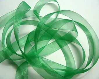 "5/8"" Organza Ribbon - Emerald Green - 5 yards"