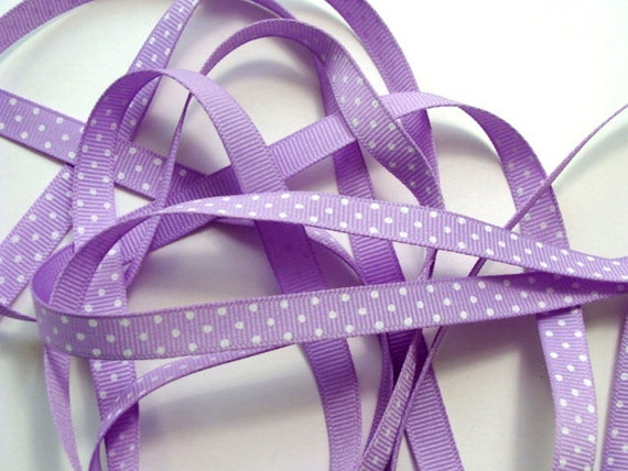 "3/8"" Grosgrain Ribbon Swiss Dots - Lavender with White Dots - 5 yards"