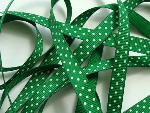 "5 yds 3/8"" Grosgrain Ribbon Swiss Dots - Emerald Green with White Dots"