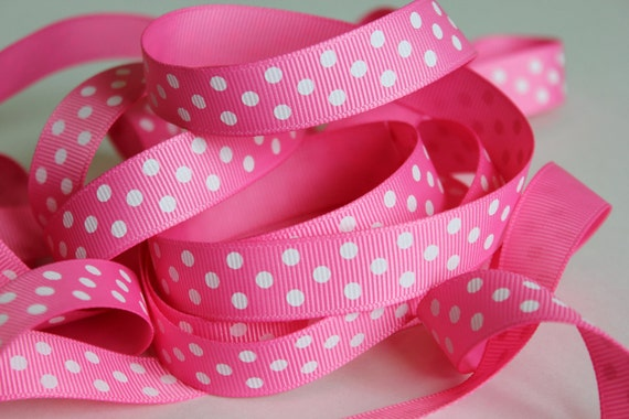 "5 yds 5/8"" Grosgrain Ribbon with Swiss Dots - Hot Pink with White Dots"