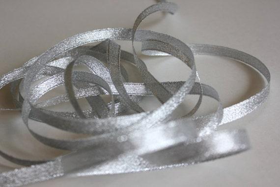 "5 yds 3/8"" Metallic Ribbon - Silver"