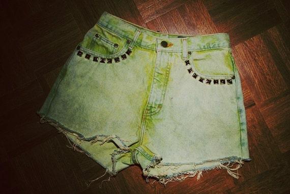 High Waisted Green Studded Shorts