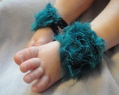 Baby Shoes, Baby Sandals, Barefoot Blossom (TM) Turquoise Shabby Chiffon