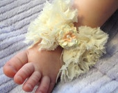 Baby Shoes, Baby Sandals, Barefoot Blossom (TM), Cream Shabby Bow