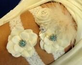 Keepsake ONLY- Ivory Wedding Garter, Bridal Garter, Lace Garter, Toss Garter, Something Blue Wedding Garter, Vintage Inspired Lace Garter