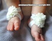 Barefoot Sandals, Baby Sandals, Baby Shoes,Baby Barefoot Sandals, Barefoot Blossom(TM) - Ivory Mums