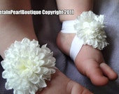 Baby Sandals, Baby Shoes, Barefoot Blossom(TM) - Ivory Mums