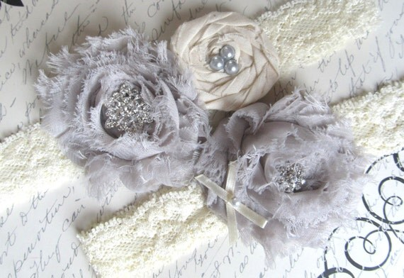 KEEPSAKE only-Vintage Inspired Bridal Garter Set - Custom Color Chiffon - Ivory Lace