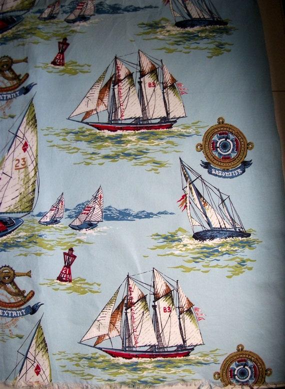One Yard Vintage Novelty Nautical Fabric By