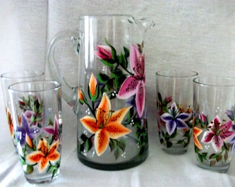 Lily Tumblers and Pitcher