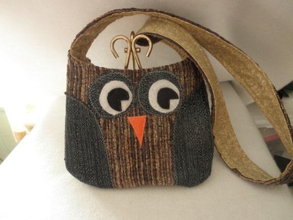 Blue, Grey & Brown Owl Purse